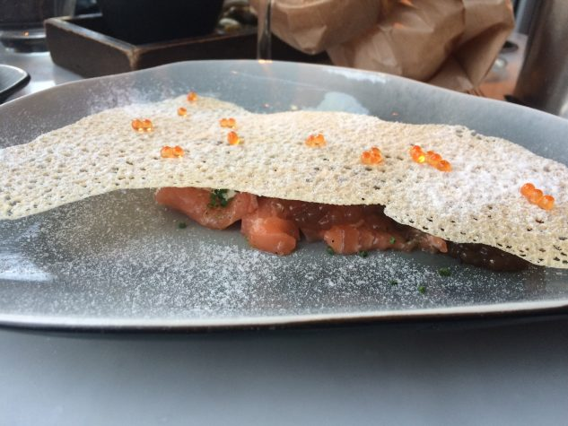 Salmon sashimi with sesame, ginger and yuzu