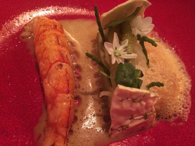 Gamba Rosso with green curry, fennel and sauce of gamba and coconut
