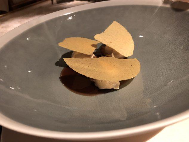 Gänselebercreme/ eingelegte Feigen Ananaspapier, Muscovado Zucker, Kaffee, Chili