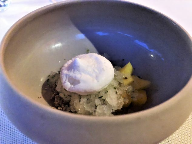 Pré-Dessert 2: Mango und Estragongranité