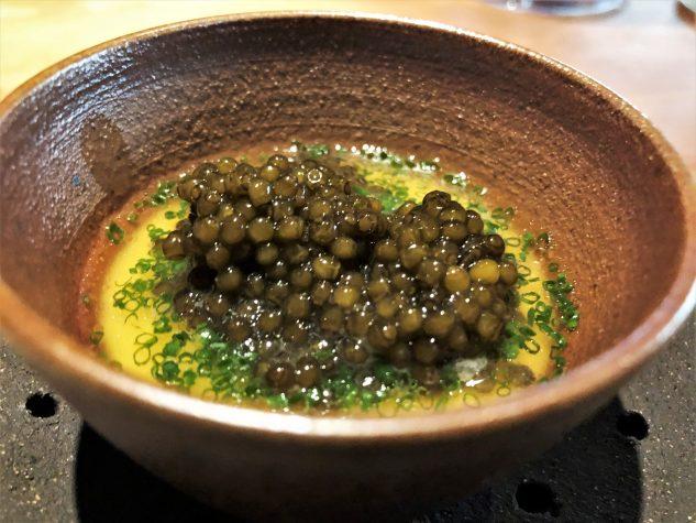 Chawanmushi, Frantzén Prestige Kaviar, gereifte Schweinebrühe