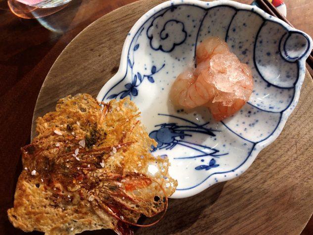Garnelen Sashimi, Garnelen-Granité und Chip