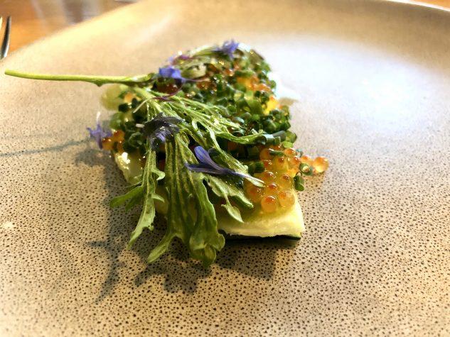 Zucchini / Forellenkaviar / Schnittlauch