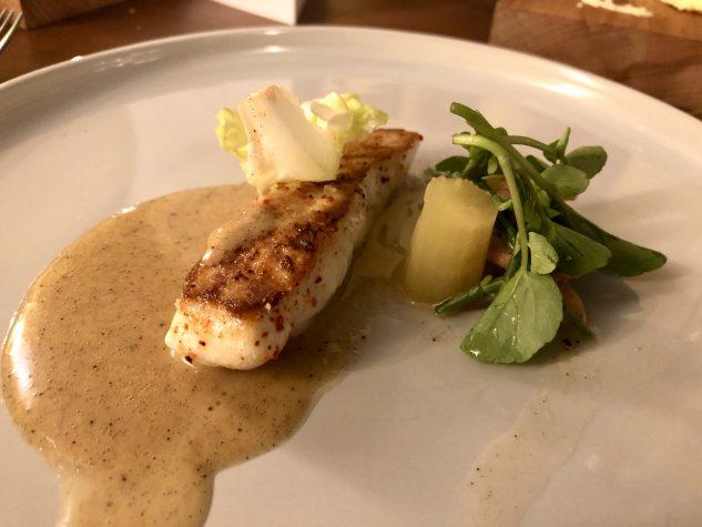 Bretonischer Steinbutt / Celtuce / Krabben
