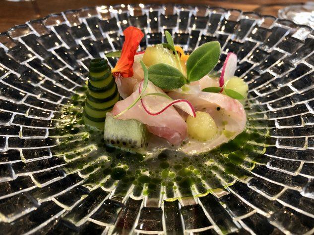 Hiramasa Kingfish   Kiwi   Gurke   Tomaten Dashi