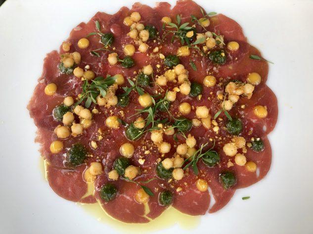 Lammcarpaccio, Couscous, Eigelb & Paprika