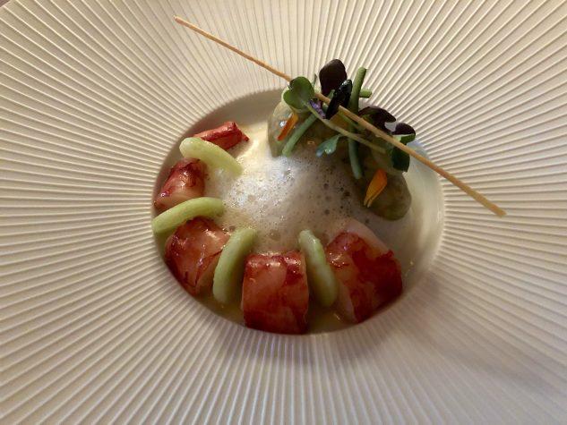Rote Garnele / Farro / Gurke / Olivenöl